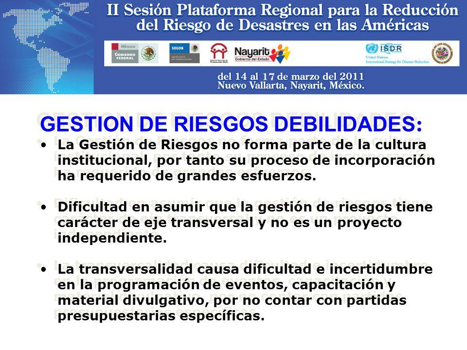 GESTION DE RIESGOS DEBILIDADES:
