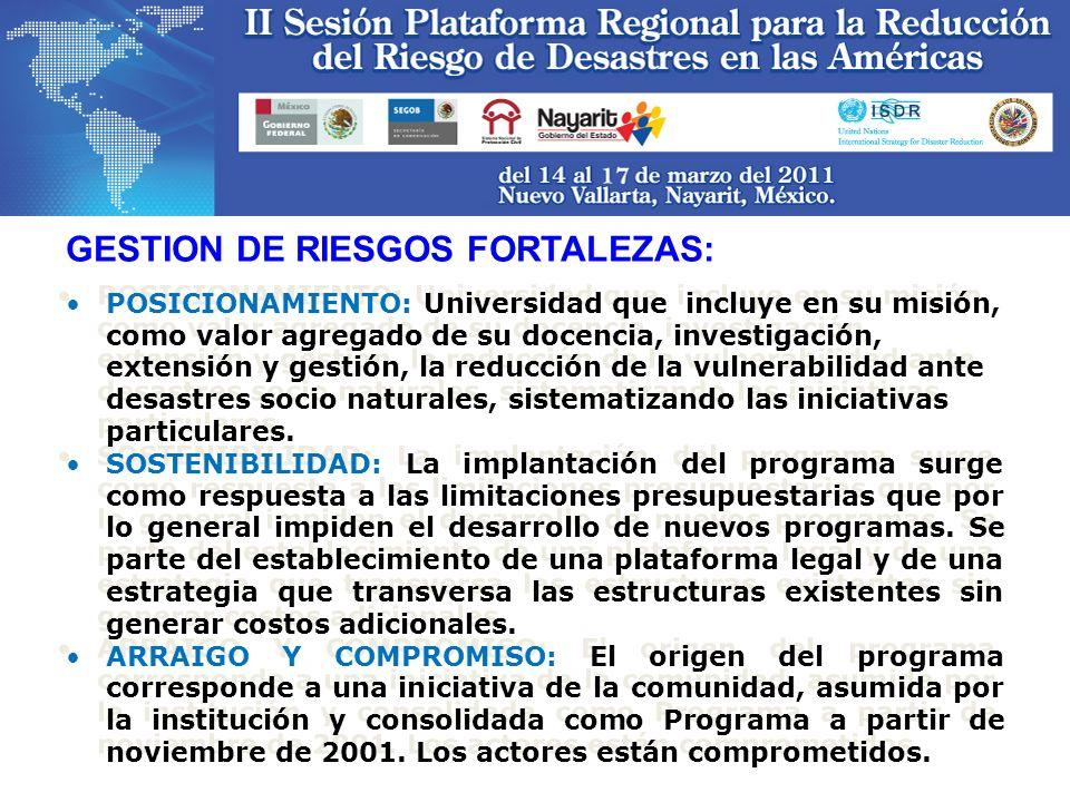 GESTION DE RIESGOS FORTALEZAS:
