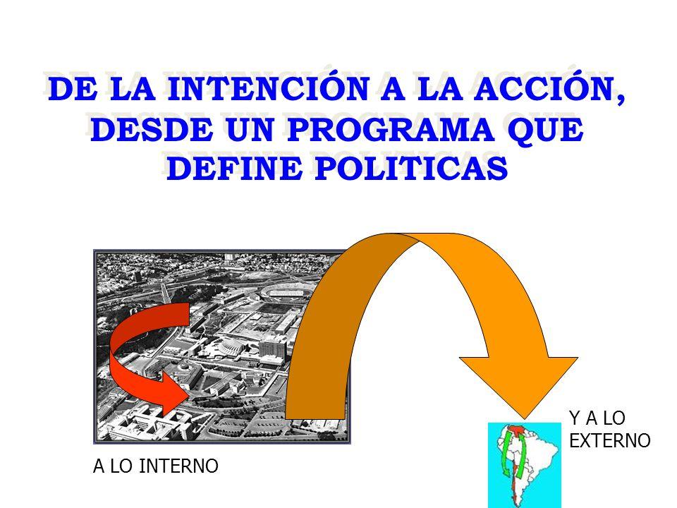 DE LA INTENCIÓN A LA ACCIÓN, DESDE UN PROGRAMA QUE DEFINE POLITICAS