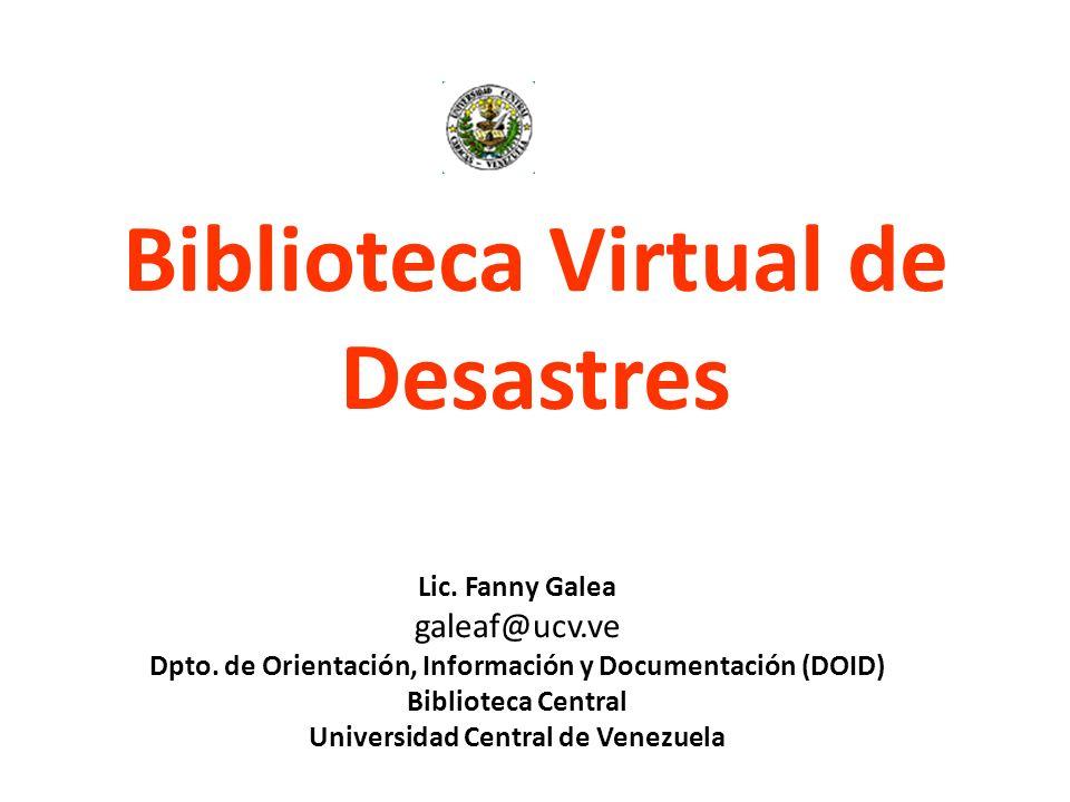 Biblioteca Virtual de Desastres