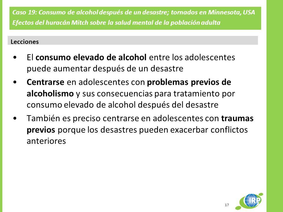 Caso 19: Consumo de alcohol después de un desastre; tornados en Minnesota, USA