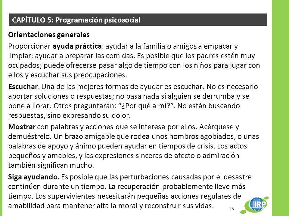 CAPÍTULO 5: Programación psicosocial