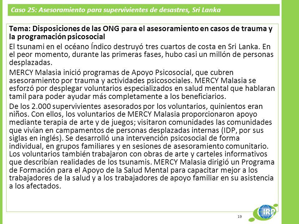 Caso 25: Asesoramiento para supervivientes de desastres, Sri Lanka