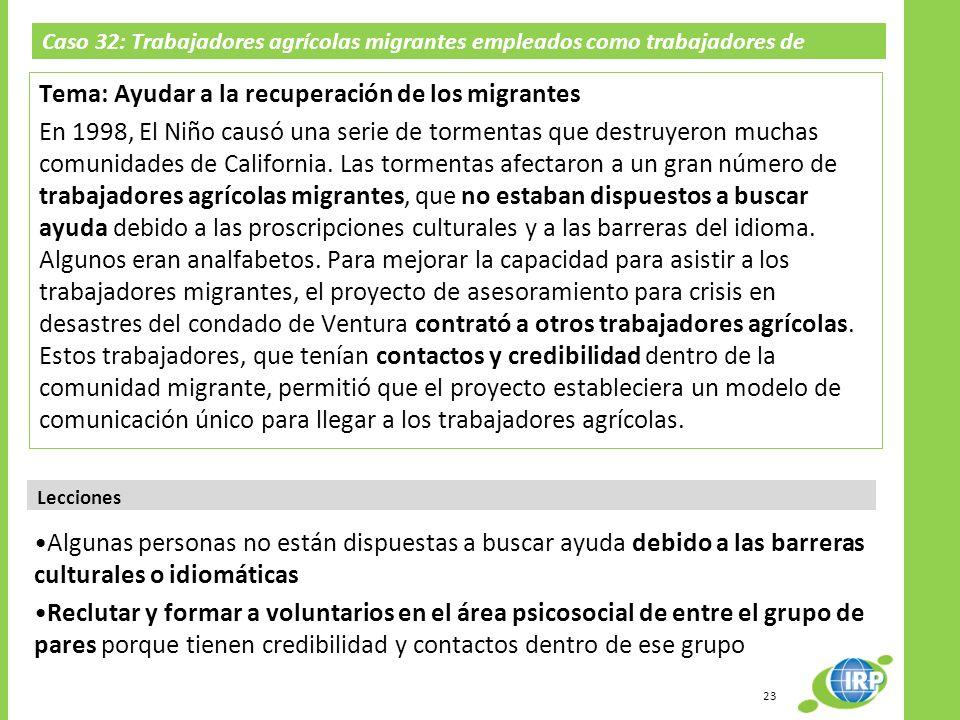 Caso 32: Trabajadores agrícolas migrantes empleados como trabajadores de divulgación; El Niño en California 1998