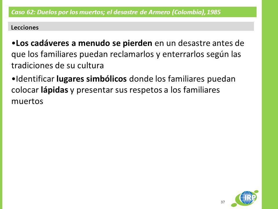 Caso 62: Duelos por los muertos; el desastre de Armero (Colombia), 1985