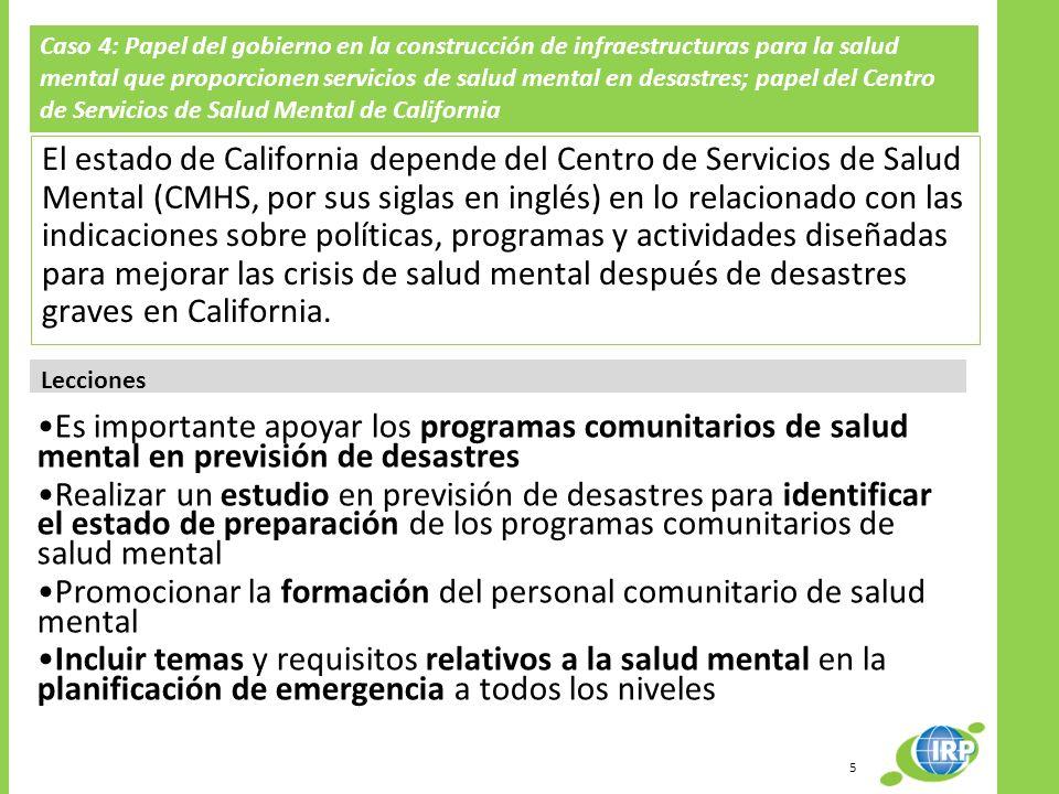 Promocionar la formación del personal comunitario de salud mental