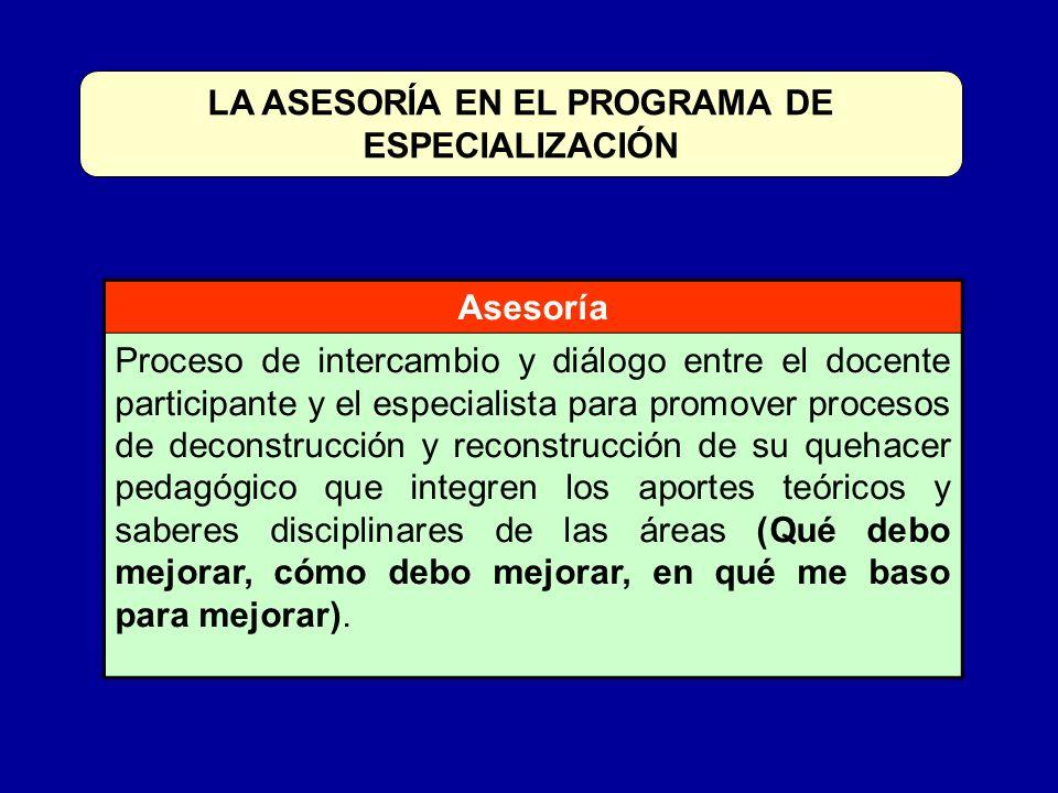 LA ASESORÍA EN EL PROGRAMA DE ESPECIALIZACIÓN