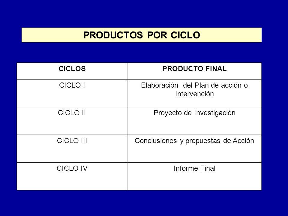 PRODUCTOS POR CICLO CICLOS PRODUCTO FINAL CICLO I