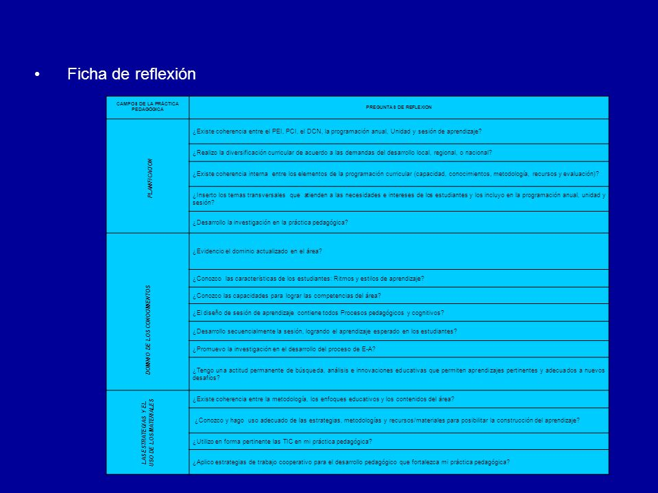 Ficha de reflexiónCAMPOS DE LA PRÁCTICA PEDAGÓGICA. PREGUNTAS DE REFLEXION. PLANIFICACION.