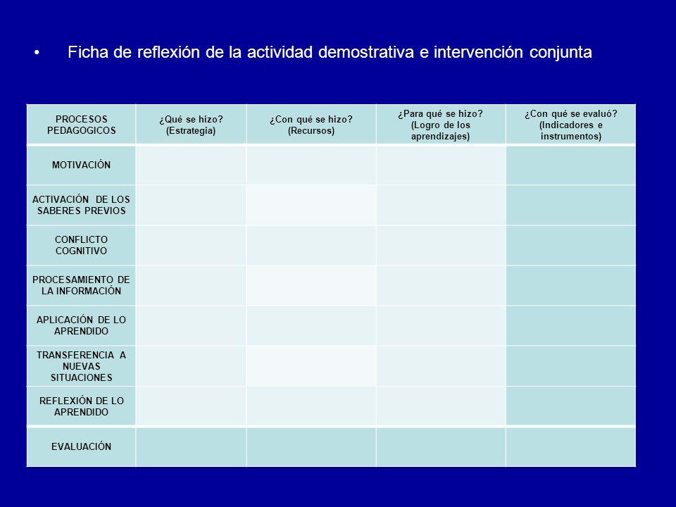 Ficha de reflexión de la actividad demostrativa e intervención conjunta