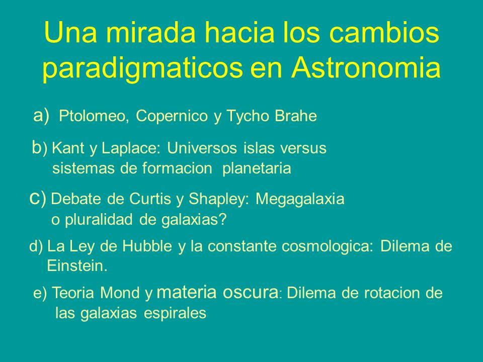 Una mirada hacia los cambios paradigmaticos en Astronomia