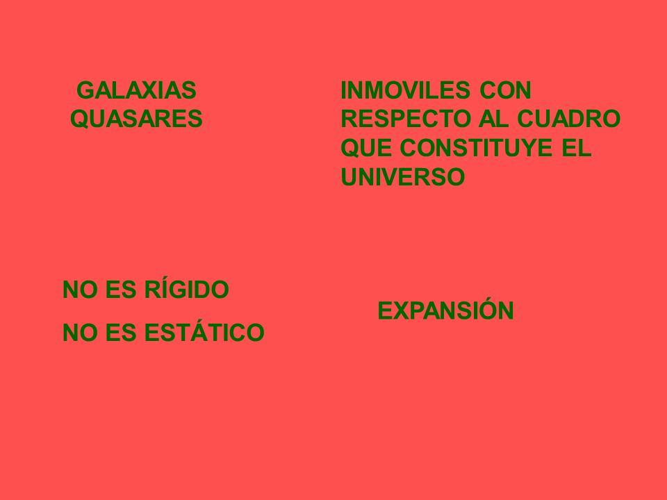 GALAXIAS QUASARES INMOVILES CON RESPECTO AL CUADRO QUE CONSTITUYE EL UNIVERSO. NO ES RÍGIDO. NO ES ESTÁTICO.