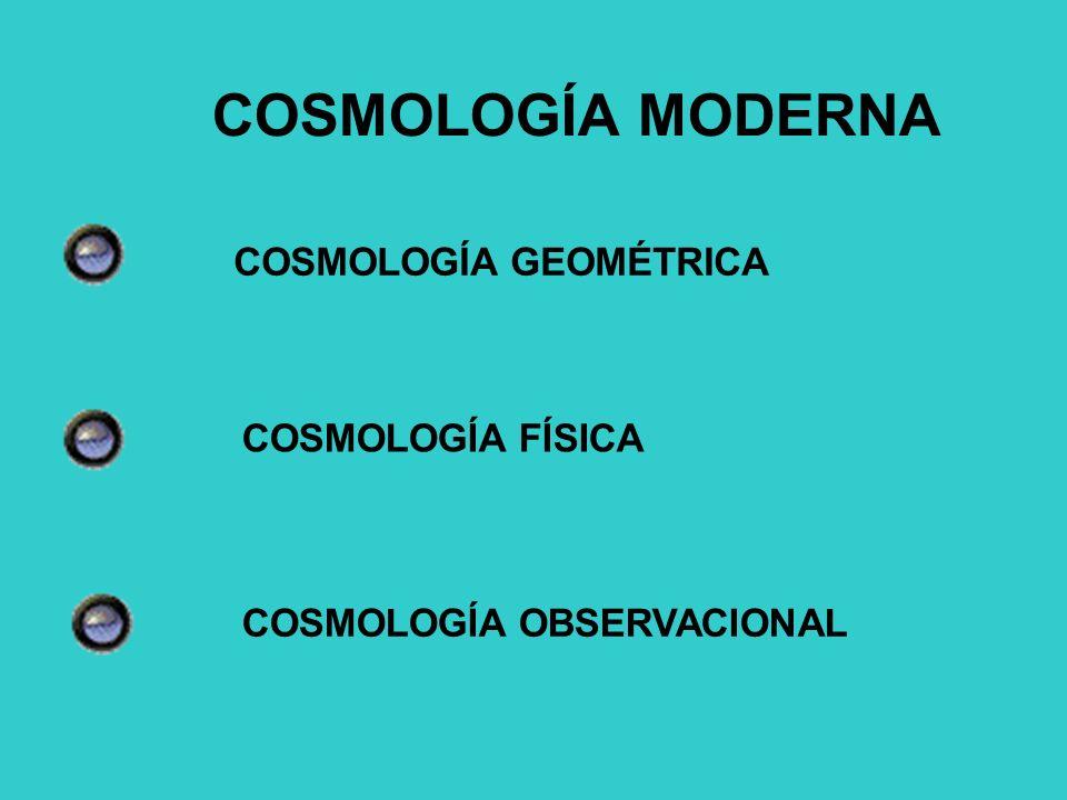COSMOLOGÍA MODERNA COSMOLOGÍA GEOMÉTRICA COSMOLOGÍA FÍSICA