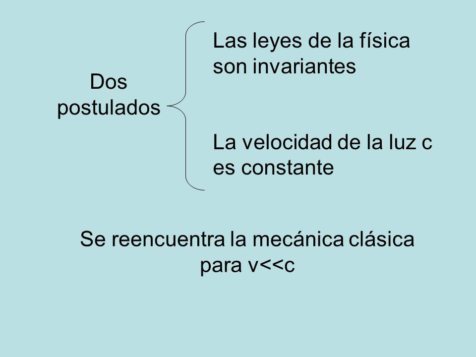 Se reencuentra la mecánica clásica para v<<c
