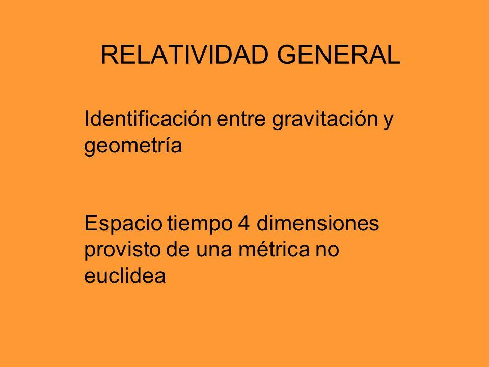 RELATIVIDAD GENERAL Identificación entre gravitación y geometría