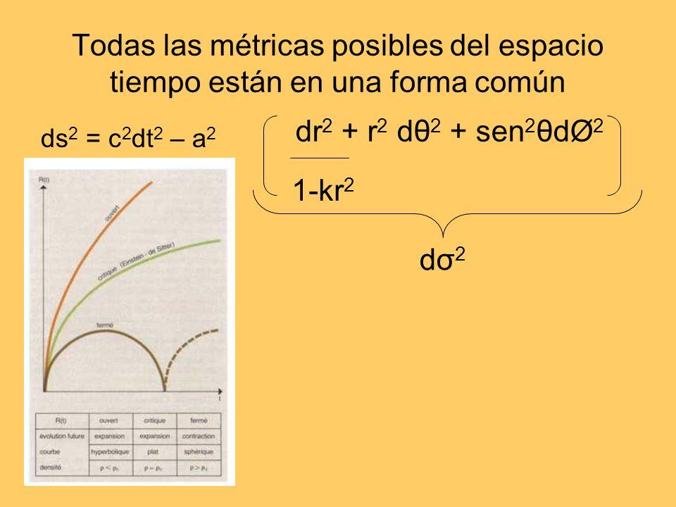Todas las métricas posibles del espacio tiempo están en una forma común