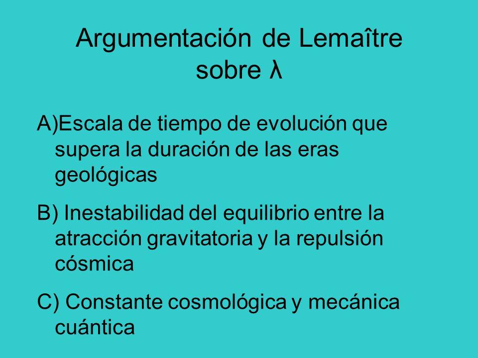 Argumentación de Lemaître sobre λ