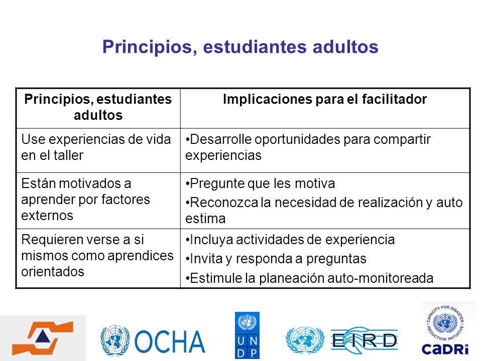 Principios, estudiantes adultos Principios, estudiantes adultos