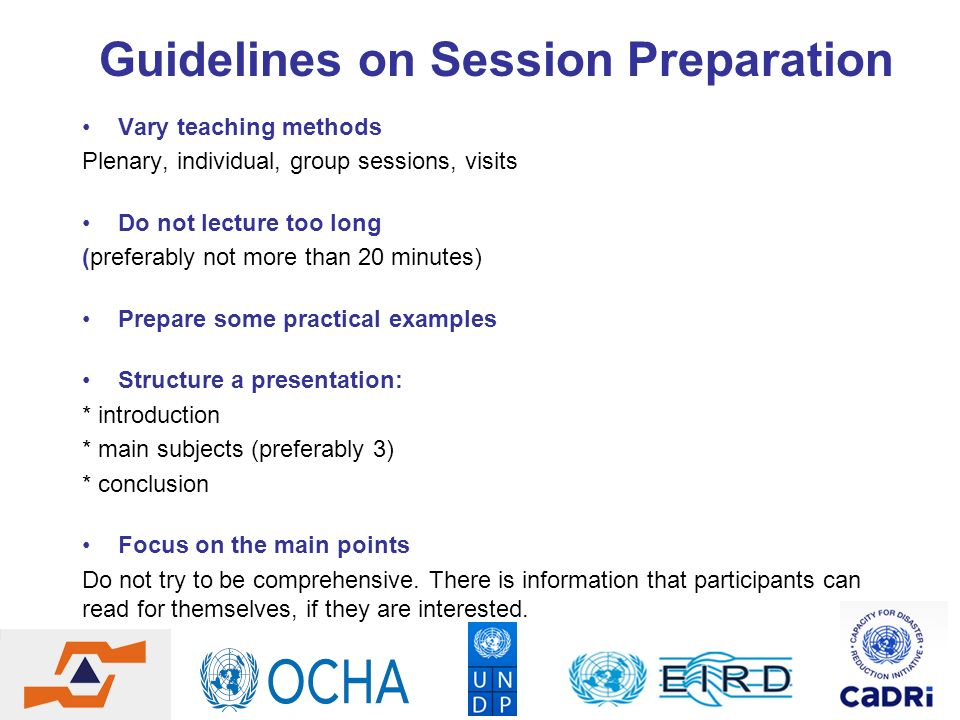 Guidelines on Session Preparation