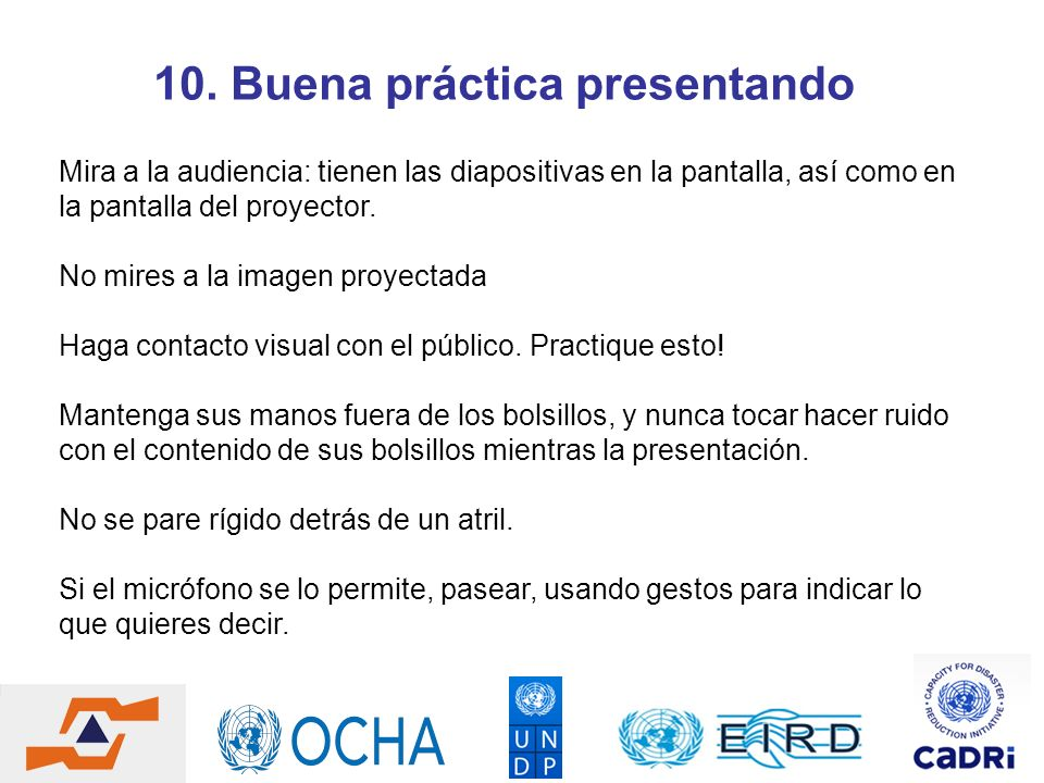 10. Buena práctica presentando
