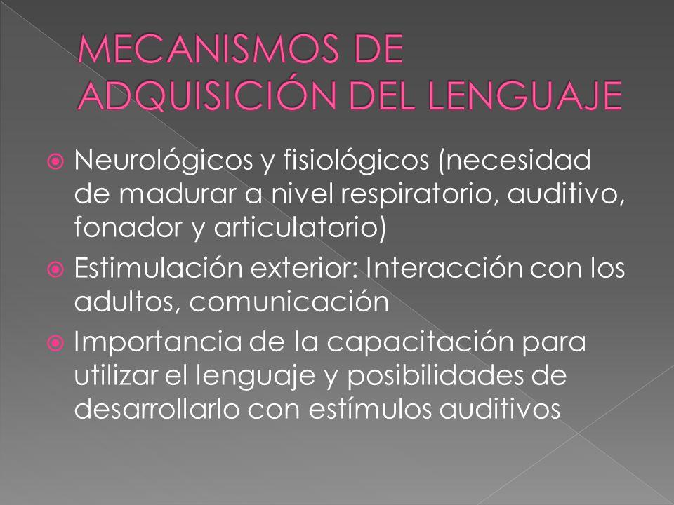 MECANISMOS DE ADQUISICIÓN DEL LENGUAJE