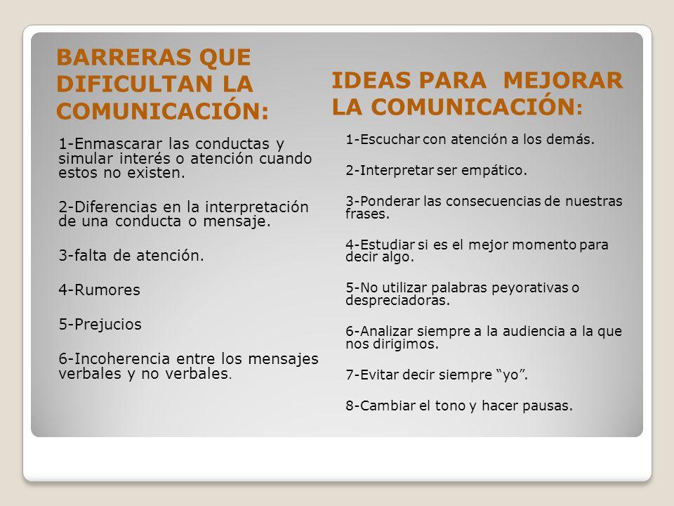 IDEAS PARA MEJORAR LA COMUNICACIÓN: