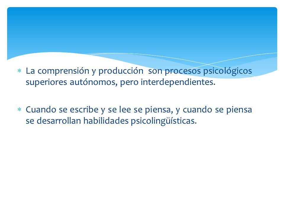 La comprensión y producción son procesos psicológicos superiores autónomos, pero interdependientes.