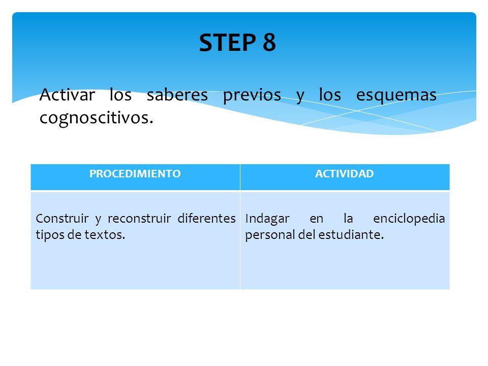 STEP 8 Activar los saberes previos y los esquemas cognoscitivos.