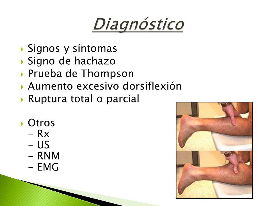Diagnóstico Signos y síntomas Signo de hachazo Prueba de Thompson