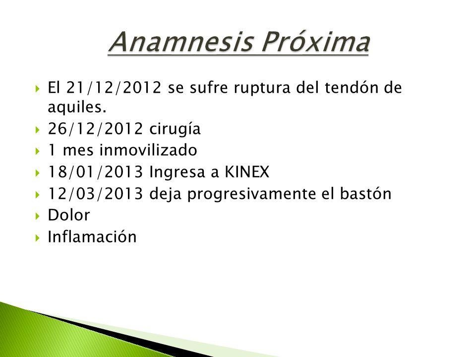 Anamnesis Próxima El 21/12/2012 se sufre ruptura del tendón de aquiles. 26/12/2012 cirugía. 1 mes inmovilizado.