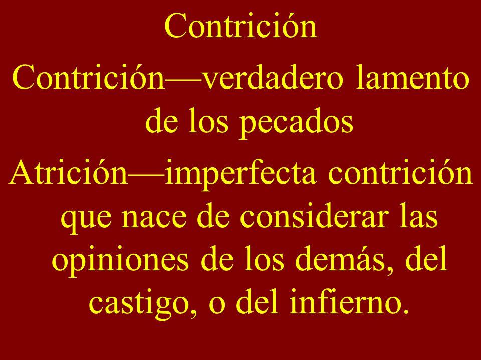Contrición—verdadero lamento de los pecados