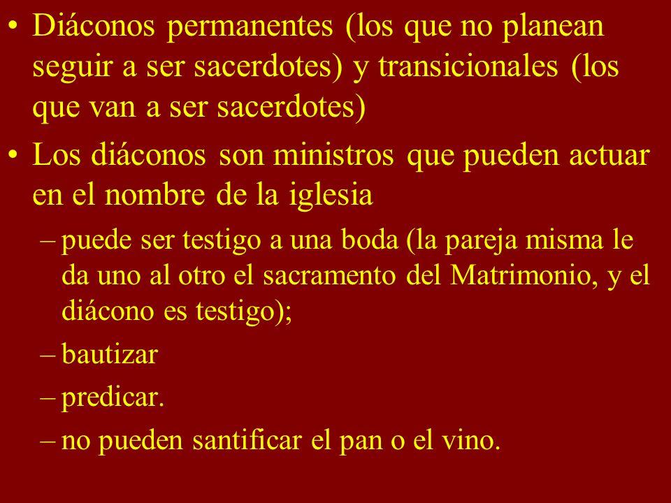 Diáconos permanentes (los que no planean seguir a ser sacerdotes) y transicionales (los que van a ser sacerdotes)