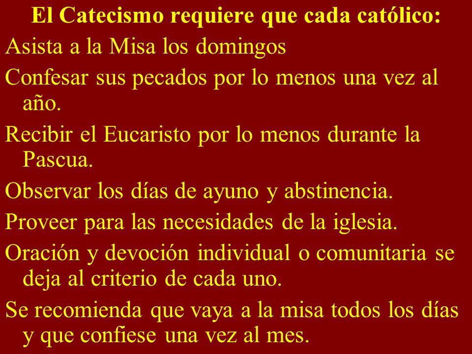 El Catecismo requiere que cada católico: