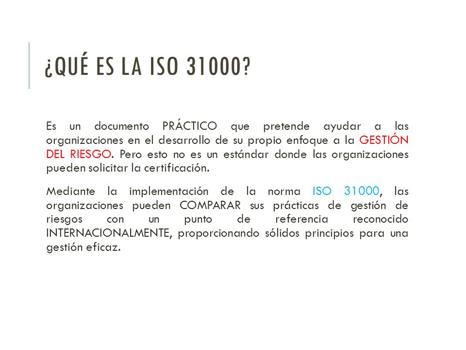 ¿QUÉ ES LA ISO 31000