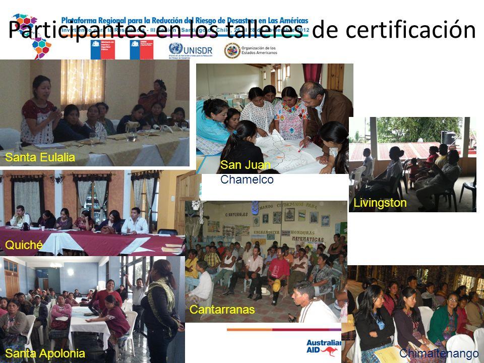 Participantes en los talleres de certificación