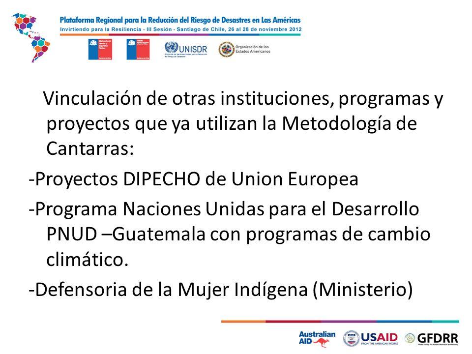 Vinculación de otras instituciones, programas y proyectos que ya utilizan la Metodología de Cantarras: