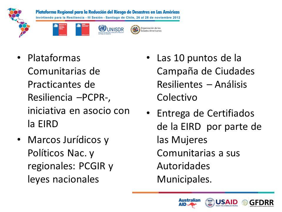 Plataformas Comunitarias de Practicantes de Resiliencia –PCPR-, iniciativa en asocio con la EIRD