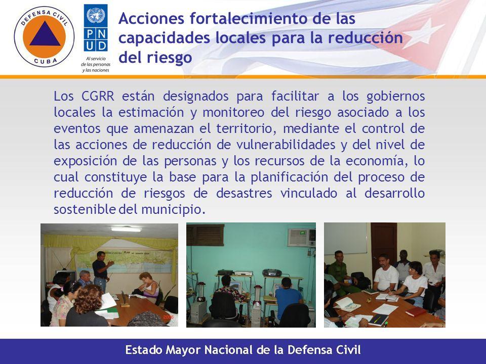 Acciones fortalecimiento de las capacidades locales para la reducción del riesgo