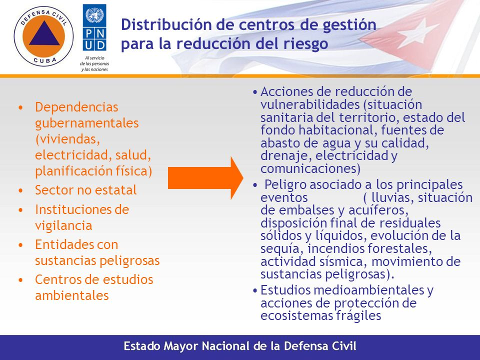 Distribución de centros de gestión para la reducción del riesgo