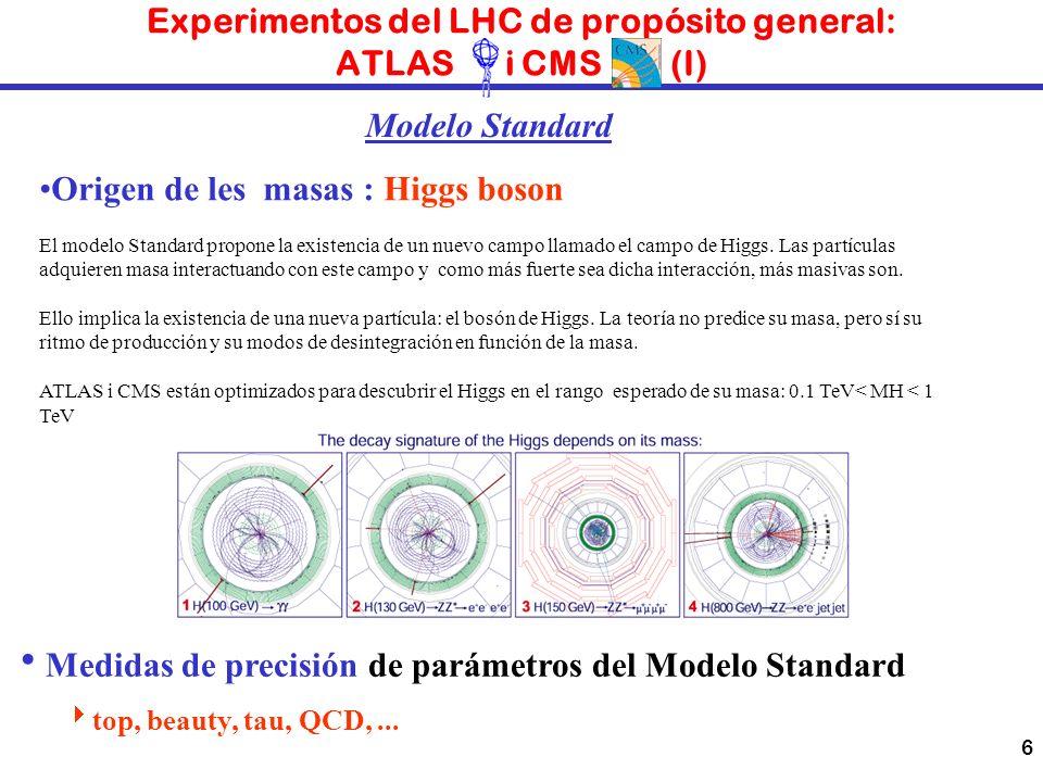 Experimentos del LHC de propósito general: ATLAS i CMS (I)