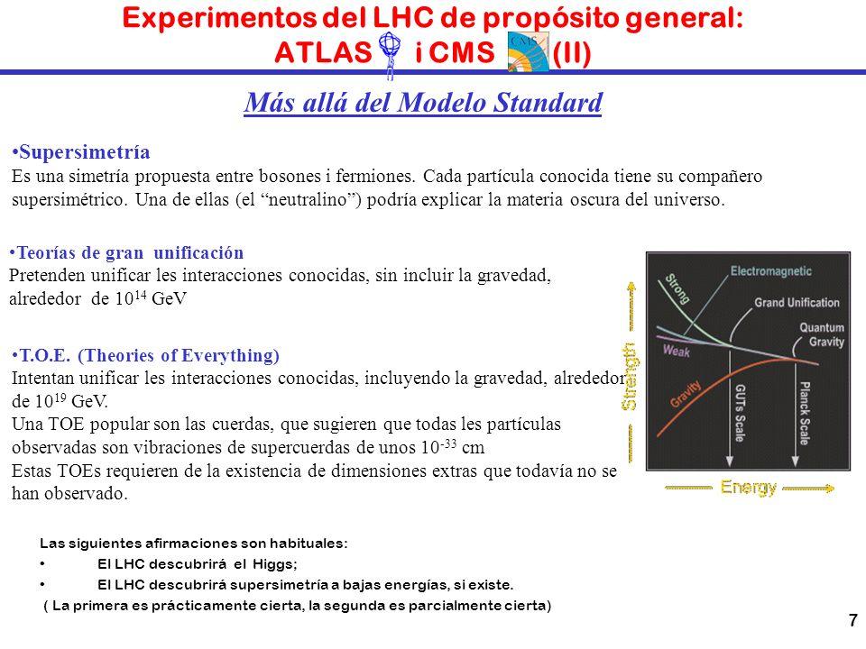 Experimentos del LHC de propósito general: ATLAS i CMS (II)