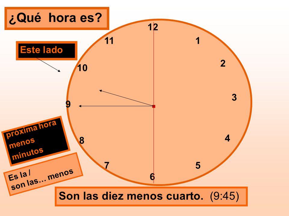 . ¿Qué hora es Son las diez menos cuarto. (9:45) 12 11 1 Este lado 2
