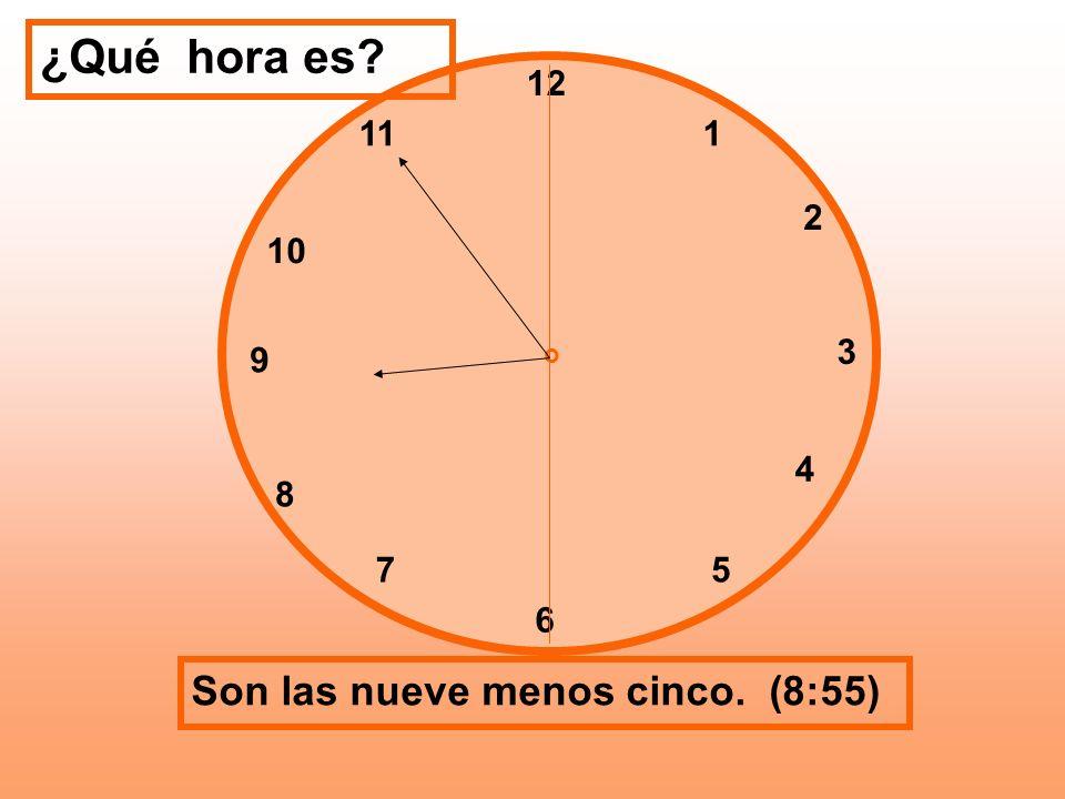 ¿Qué hora es Son las nueve menos cinco. (8:55) 12 11 1 2 10 3 9 4 8 7
