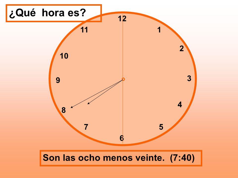 ¿Qué hora es Son las ocho menos veinte. (7:40) 12 11 1 2 10 3 9 4 8 7