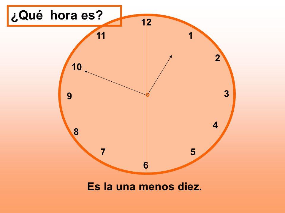 ¿Qué hora es 12 11 1 2 10 3 9 o 4 8 7 5 6 Es la una menos diez.