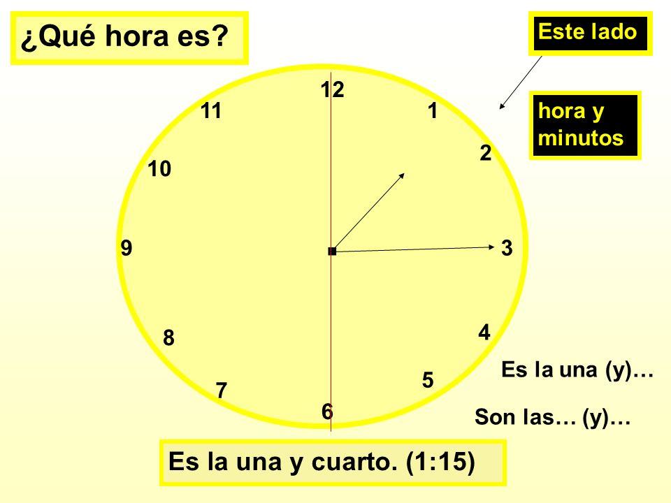 ¿Qué hora es Es la una y cuarto. (1:15) Este lado 11 1 hora y minutos