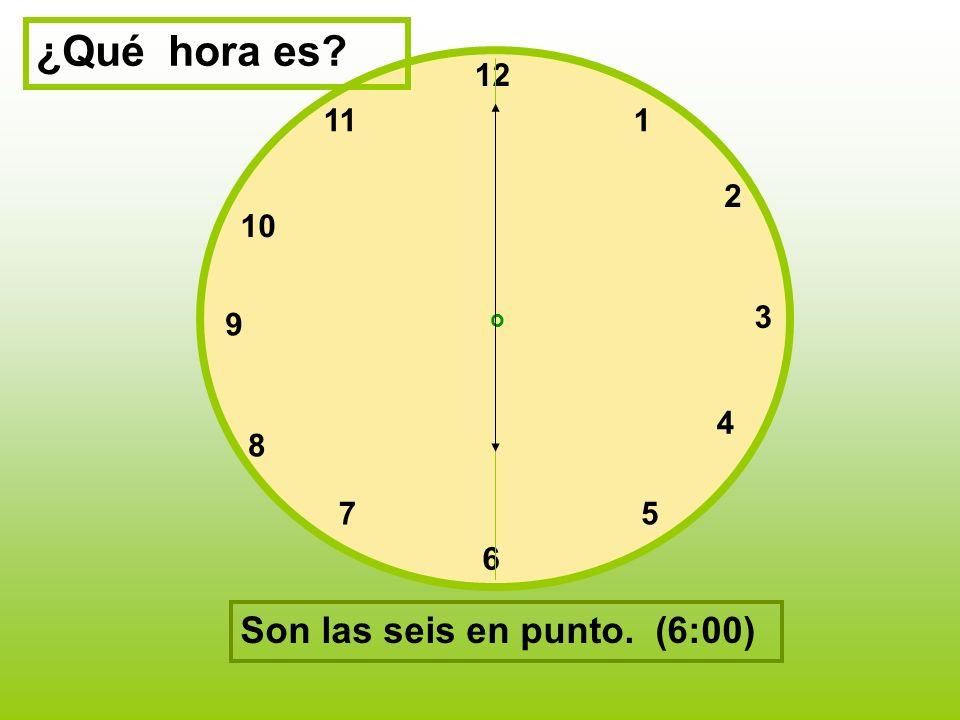 ¿Qué hora es Son las seis en punto. (6:00) 12 11 1 2 10 3 9 4 8 7 5 6