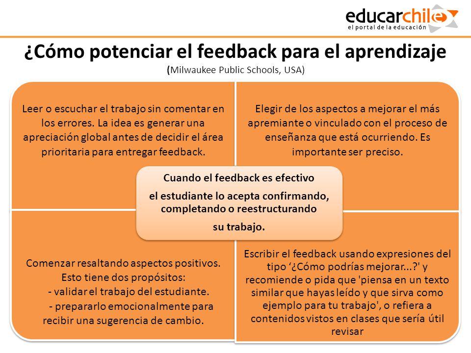 ¿Cómo potenciar el feedback para el aprendizaje (Milwaukee Public Schools, USA)