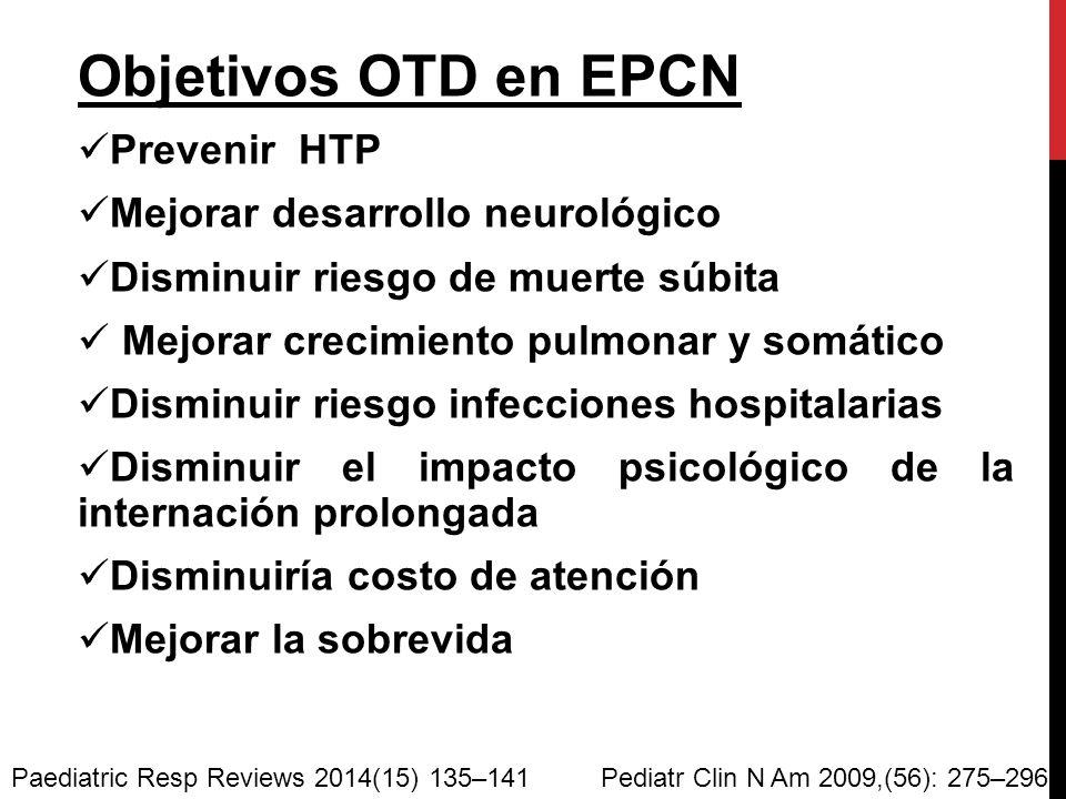 Objetivos OTD en EPCN Prevenir HTP Mejorar desarrollo neurológico