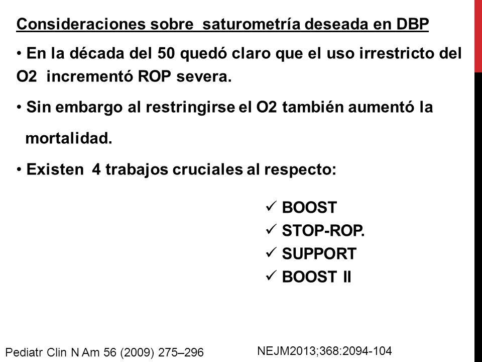 Consideraciones sobre saturometría deseada en DBP
